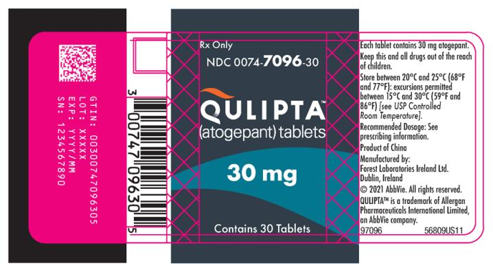 PRINCIPAL DISPLAY PANEL NDC: <a href=/NDC/0074-7096-30>0074-7096-30</a> QULIPTA™ (atogepant) tablets Rx Only Contains 30 Tablets 30 mg