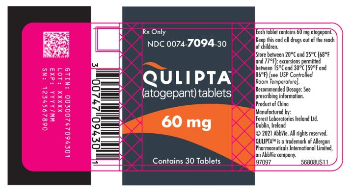 PRINCIPAL DISPLAY PANEL NDC: <a href=/NDC/0074-7094-30>0074-7094-30</a> QULIPTA™ (atogepant) tablets Rx Only Contains 30 Tablets 60 mg