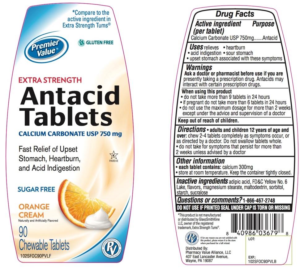 Premier Value Extra Strength Antacid Tablets 90 counts