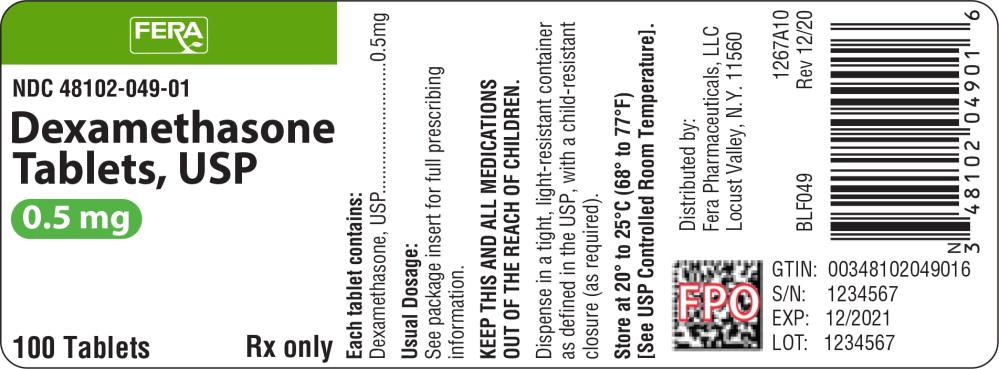 Principal Display Panel - Dexamethasone Tablets 0.5 mg Bottle Label
