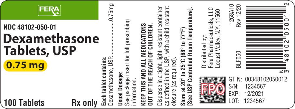 Principal Display Panel - Dexamethasone Tablets 0.75 mg Bottle Label