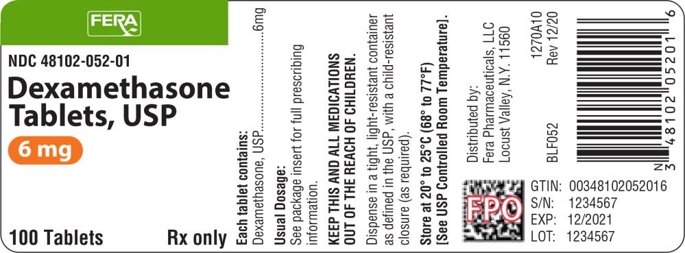 Principal Display Panel - Dexamethasone Tablets 6 mg Bottle Label