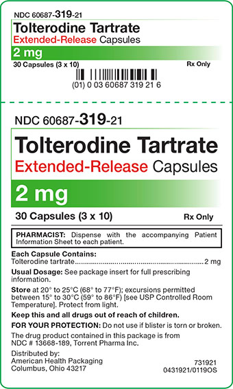 2 mg Tolterodine Tartrate ER Capsules Carton