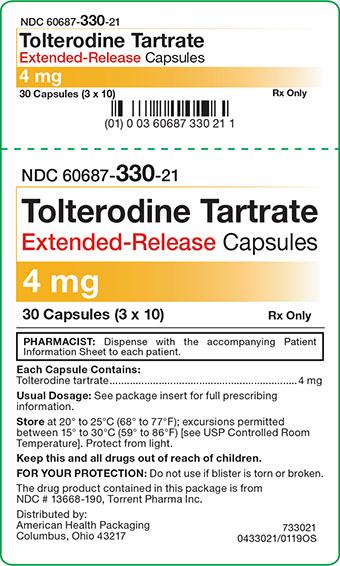 4 mg Tolterodine Tartrate ER Capsules Carton