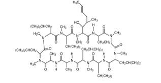 The following structure for RESTASIS® (cyclosporine ophthalmic emulsion) 0.05% contains a topical calcineurin inhibitor immunosuppressant with anti-inflammatory effects. Cyclosporine's chemical name is Cyclo[[(E)-(2S,3R,4R)-3-hydroxy-4-methyl-2-(methylamino)-6-octenoyl]-L-2-aminobutyryl-N-methylglycyl-N-methyl-L-leucyl-L-valyl-N-methyl-L-leucyl-L-alanyl-D-alanyl-N-methyl-L-leucyl-N-methyl-L-leucyl-N-methyl-L-valyl].