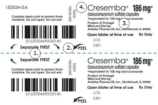 Cresemba (isavuconazonium sulfate) capsules 186 mg 4 pack carton label
