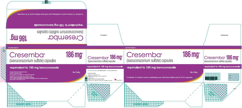 Cresemba (isavuconazonium sulfate) capsules 186 mg blister label