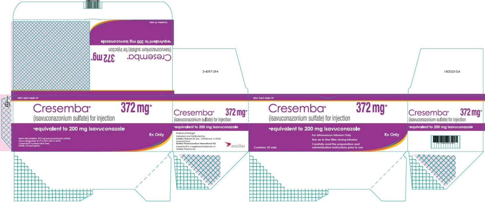 Cresemba (isavuconazonium sulfate) for injection 372 mg vial carton label