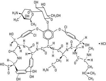 Structural formula vancomycin hydrochloride