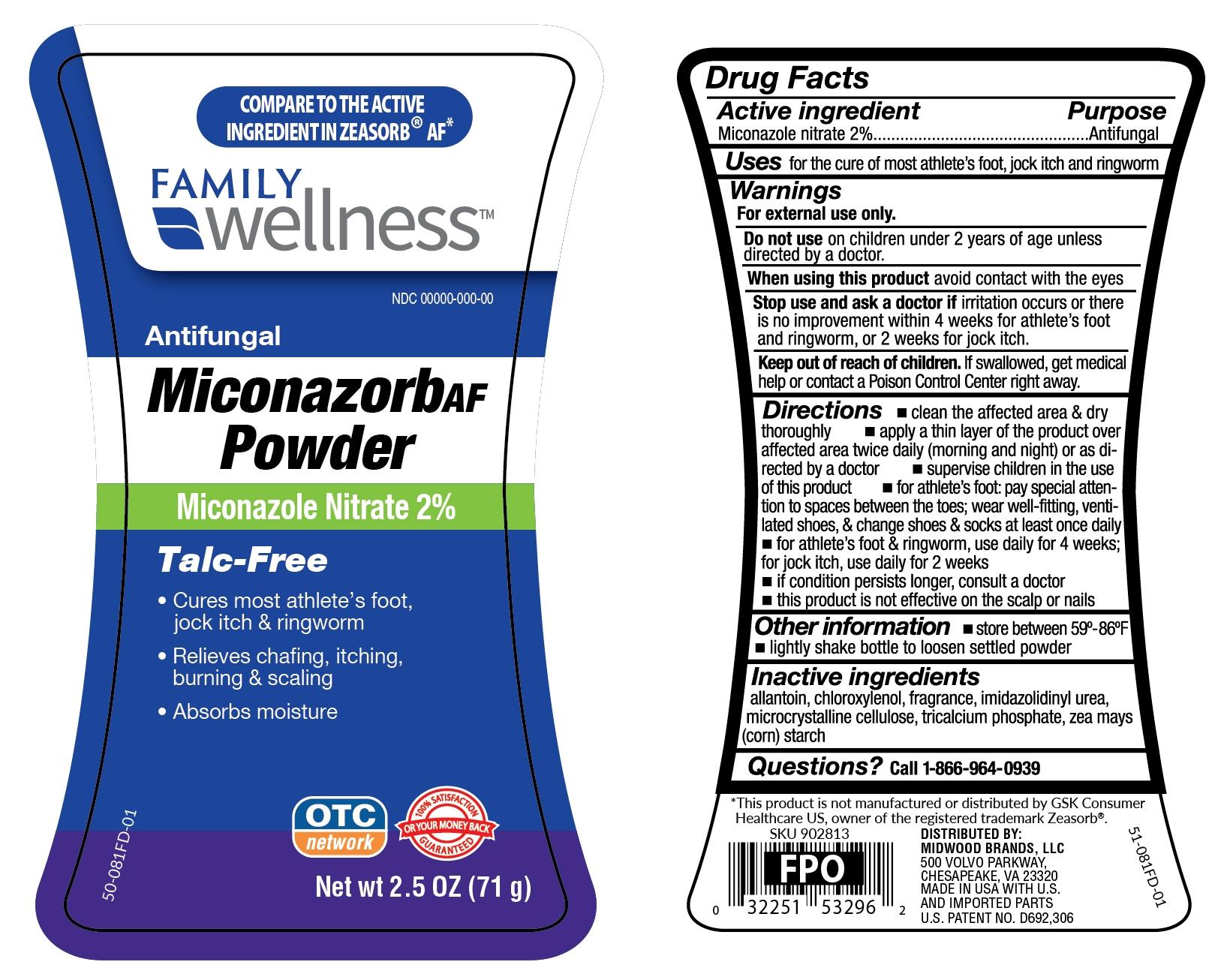 miconazorb anti-fungal powder talc-free