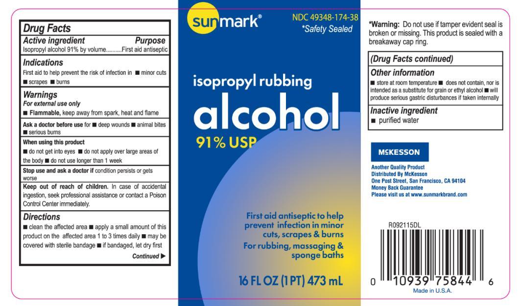 Principal Display Panel NDC: <a href=/NDC/49348-174-38>49348-174-38</a> isopropyl rubbing alcohol 91% USP 16 FL OZ (1 PT) 473 mL