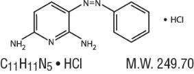 The structural formula of Phenazopyridine Hydrochloride.