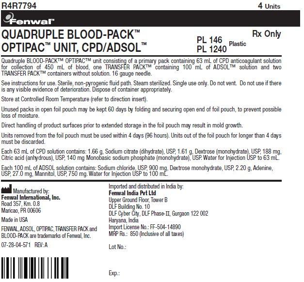 QUADRUPLE BLOOD-PACK™ OPTIPAC™ UNIT, CPD/ADSOL™ label