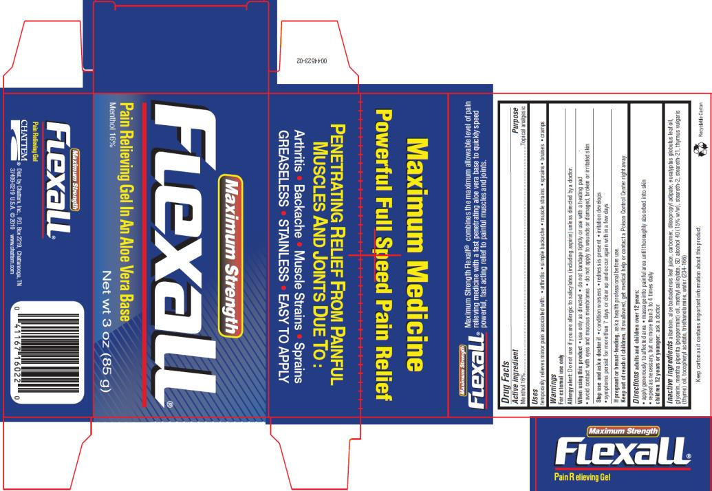PRINCIPAL DISPLAY PANEL Maximum Strength Flexall®  Menthol 16% Net wt 3 oz (85 g)