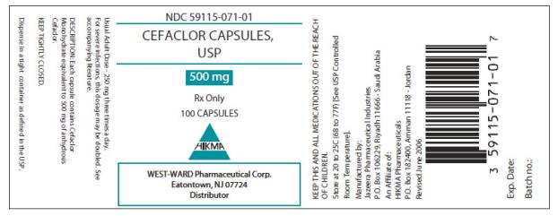 PRINCIPAL DISPLAY PANEL NDC: <a href=/NDC/59115-071-01>59115-071-01</a> Cefaclor Capsules USP 500 mg 100 Capsules Rx Only