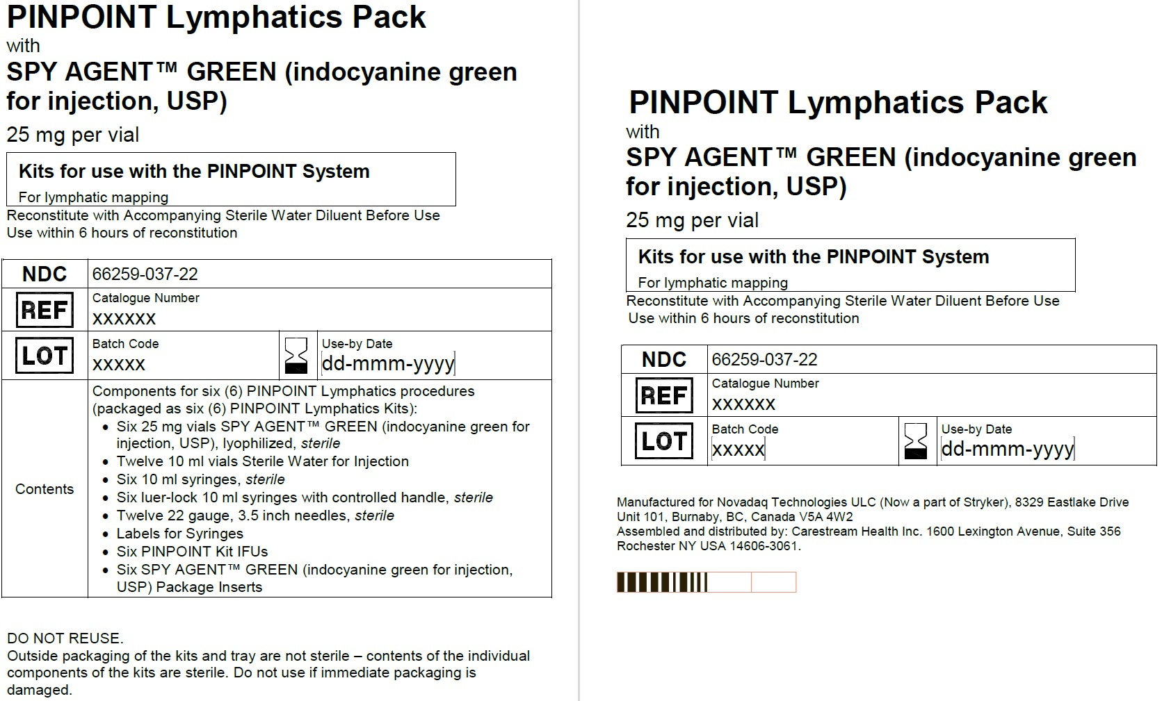 PINPOINT Lymphatics Pack Label