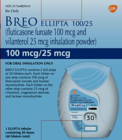 Breo Ellipta 100mcg-25mcg 30 dose carton