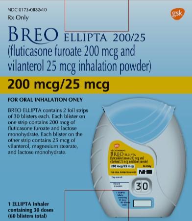 Breo Ellipta 200 mcg-25mcg 30 dose carton