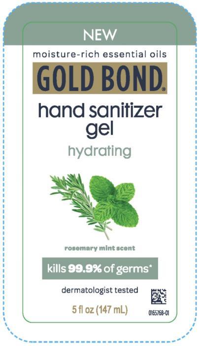 PRINCIPAL DISPLAY PANEL NEW GOLD BOND hand sanitizer gel hydrating rosemary mint scent 5 fl oz (147 mL)