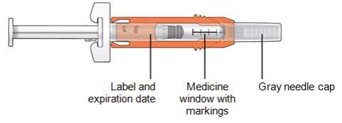 Inspect the medicine and prefilled syringe.
