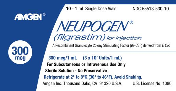 NDC: <a href=/NDC/55513-530-10>55513-530-10</a> 10 – 1 mL Single Dose Vials AMGEN® NEUPOGEN® (filgrastim) for injection A Recombinant Granulocyte Colony Stimulating Factor (rG-CSF) derived from E Coli 300 mcg 300 mcg/1 mL (3 x 107 Units/1 mL) For Subcutaneous or Intravenous Use Only Sterile Solution – No Preservative Refrigerate at 2 to 8C (36 to 46F).  Avoid Shaking. Amgen Inc. Thousand Oaks, CA 91320 U.S.A. U.S. License No. 1080