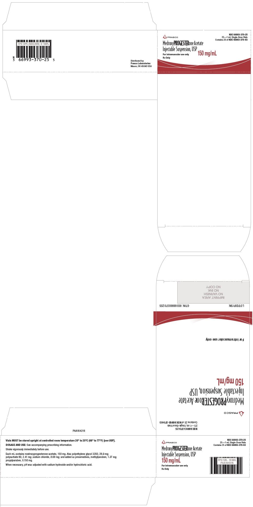 PRINCIPAL DISPLAY PANEL - 150 mg/mL Vial Carton - 66993-370-25