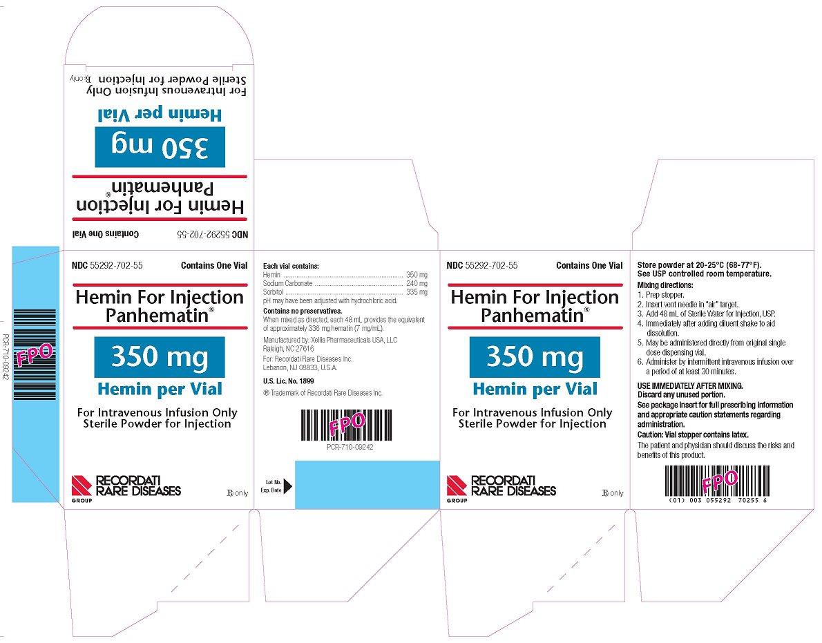 Hemin For Injection Panhematin 350 mg Hemin per Vial carton label
