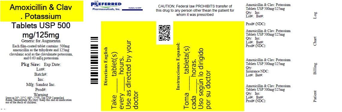 Amoxicillin and Clav Potassium Tablets USP 500mg 125mg