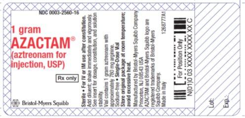 aztreonam 1 gram vial label