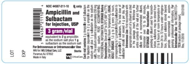 Ampicillin and Sulbactam for Injection, USP 3 g/vial label image