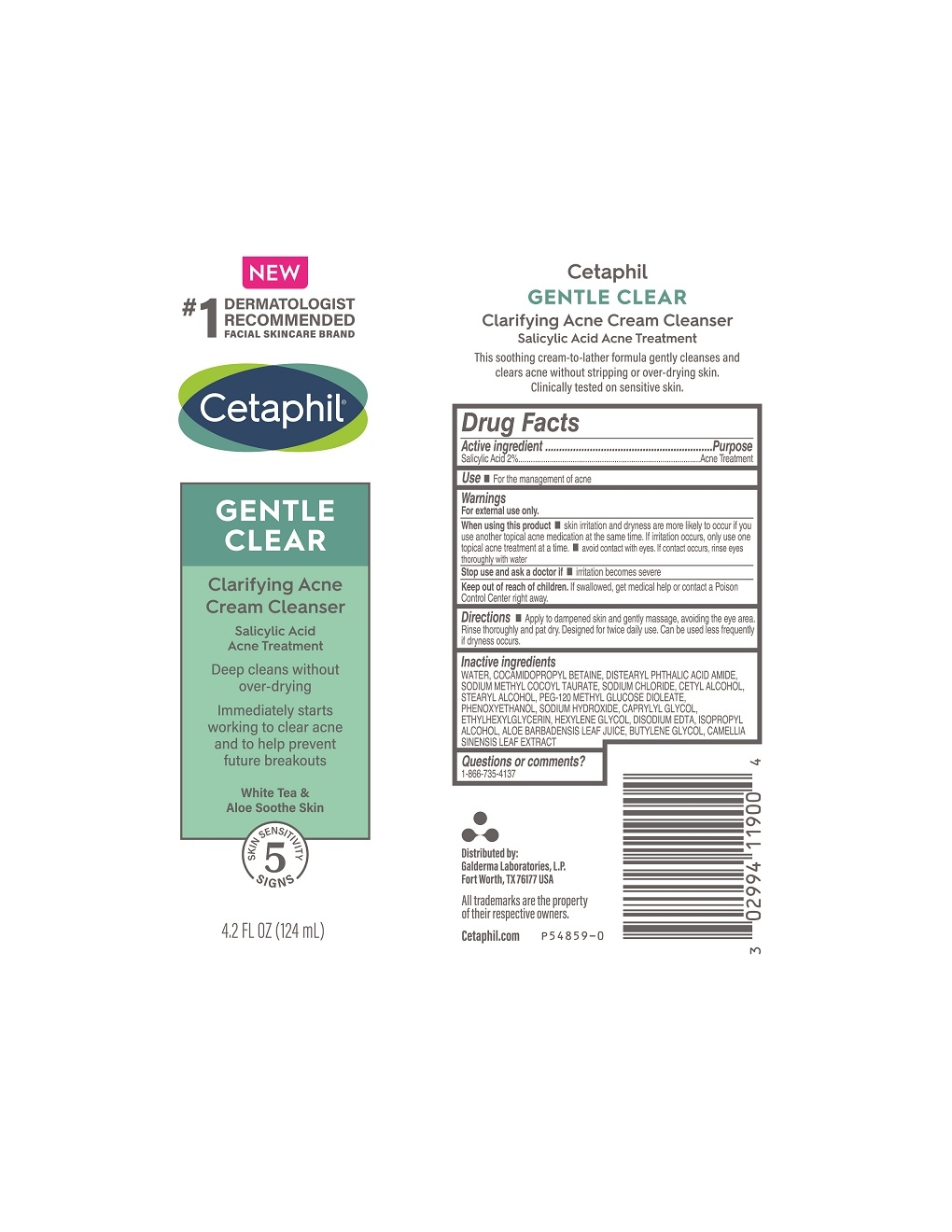 P54859-0 Cetaphil Claryifying Acne Cleanser 4.2oz Tube