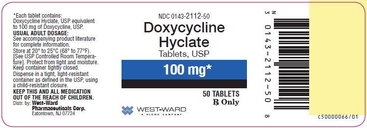 NDC: <a href=/NDC/0143-2112-50>0143-2112-50</a> Doxycycline Hyclate Tablets, USP 100 mg 50 Tablets Rx Only