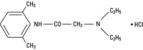 structural formula for Lidocaine hydrochloride