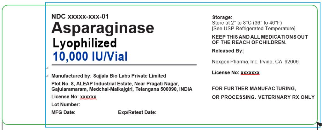 SAJJALA BIO LABS PRIVATE LIMITED Plot No. 8, ALEAP Industrial Estate Gajularamaram, Quthbullapur, Medchal-Malkajgiri, 500090, India (IND)  PRODUCT: Asparaginase Lyophilized 50,000 (IU) / Vial   NDC#: 73019-0200-2  CAUTION: FOR FURTHER MANUFACTURING, OR PROCESSING VETERINARY RX ONLY