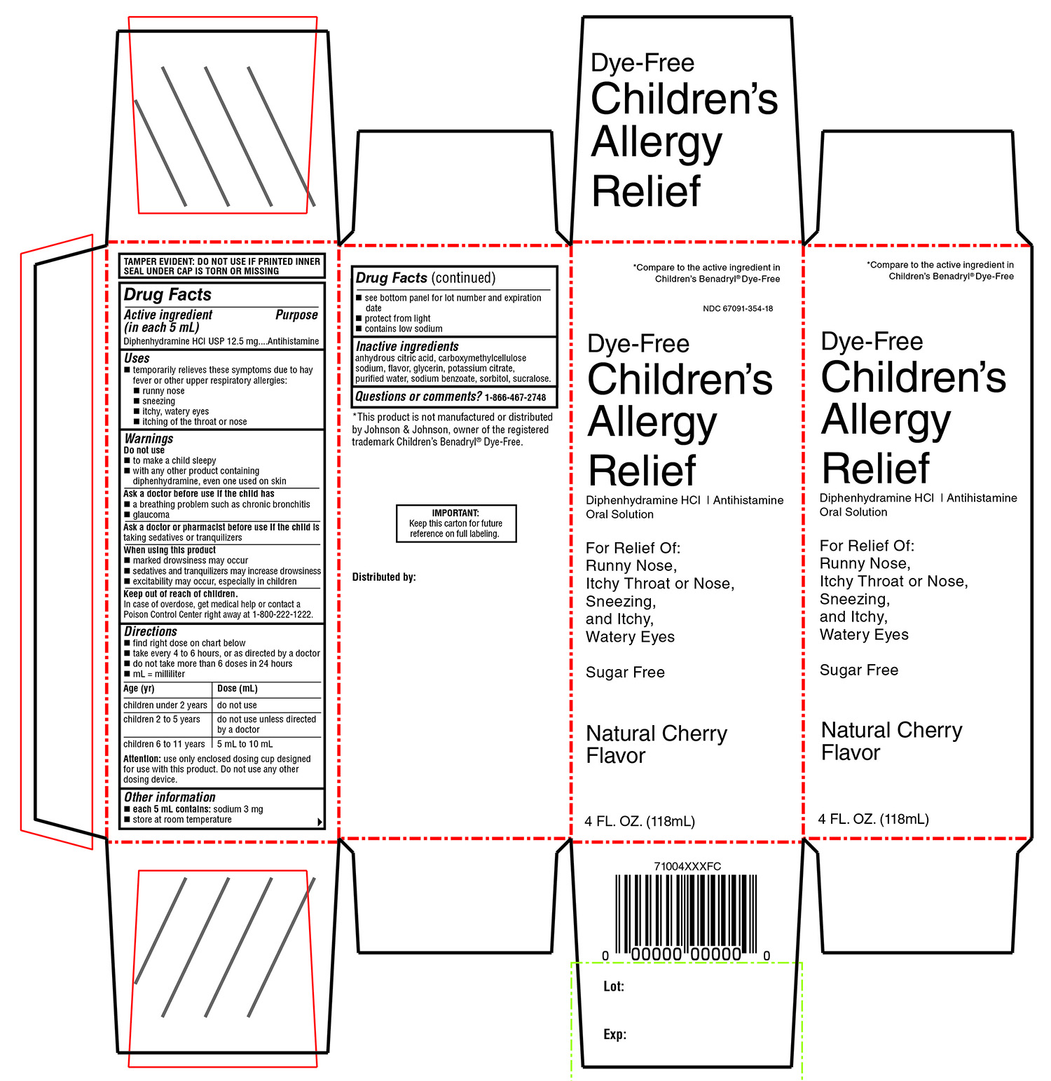 Winco Foods Childrens Allergy Relief Dye Free Diphenhydramine Hydrochloride Solution