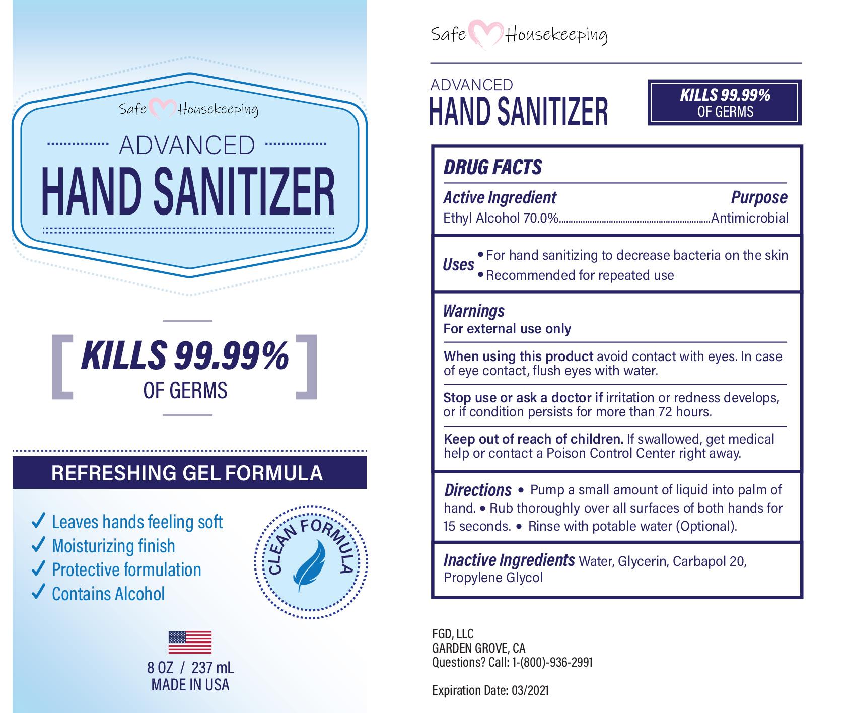 safe housekeeping hand sanitizer