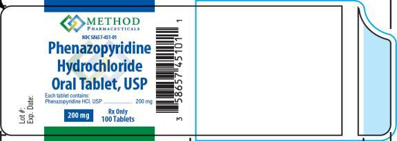 PRINCIPAL DISPLAY PANEL Phenazopyridine Hydrochloride Oral Tablet, USP 200 mg Rx Only 100 Tablets