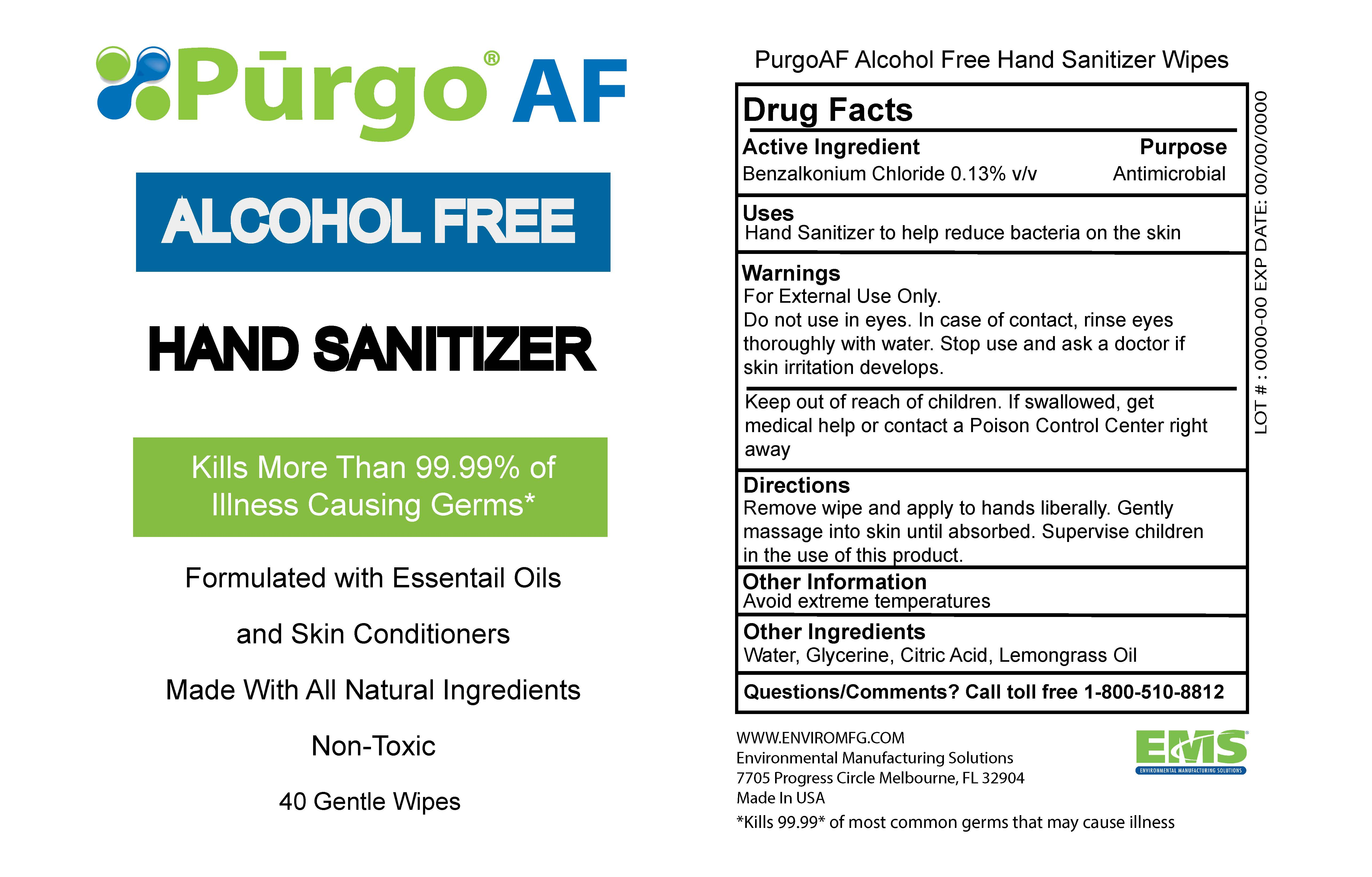Package label sanitizer wipes