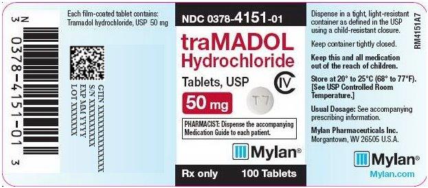 Tramadol Hydrochloride Tablets 50 mg Bottle Label