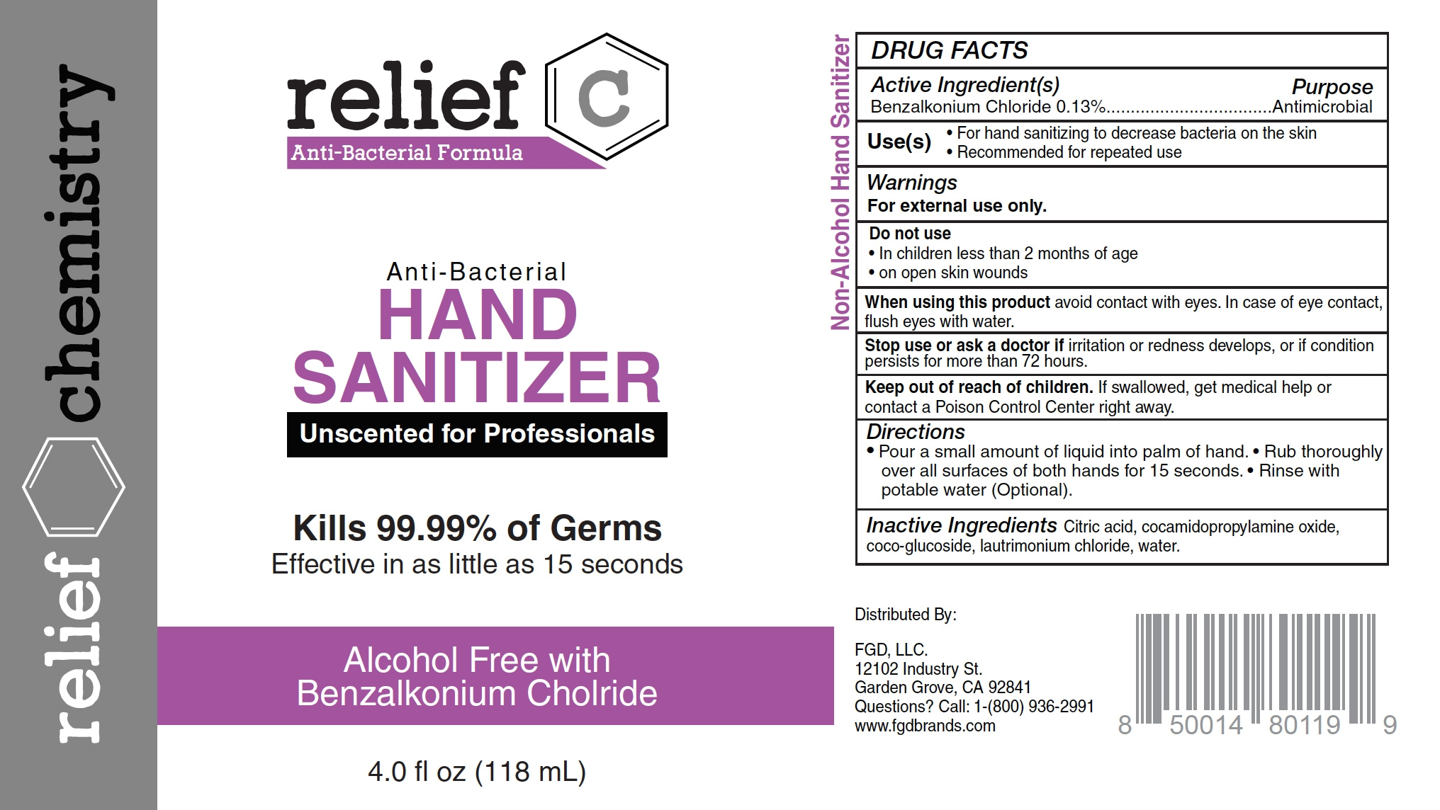 relief c hand sanitizer 4 oz