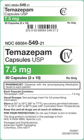 7.5 mg Temazepam Capsules Carton