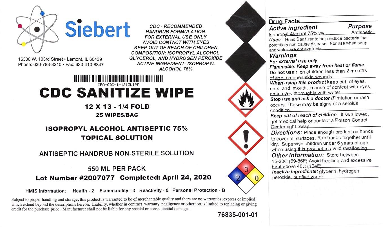 SIEBERT hand sanitizer wipes