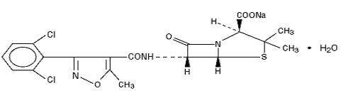 Structural formula for dicloxacillin sodium