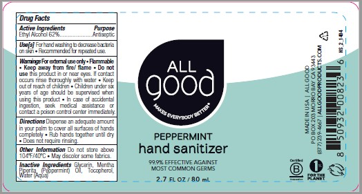 All Good Peppermint Hand Sanitizer 2.7 fl oz