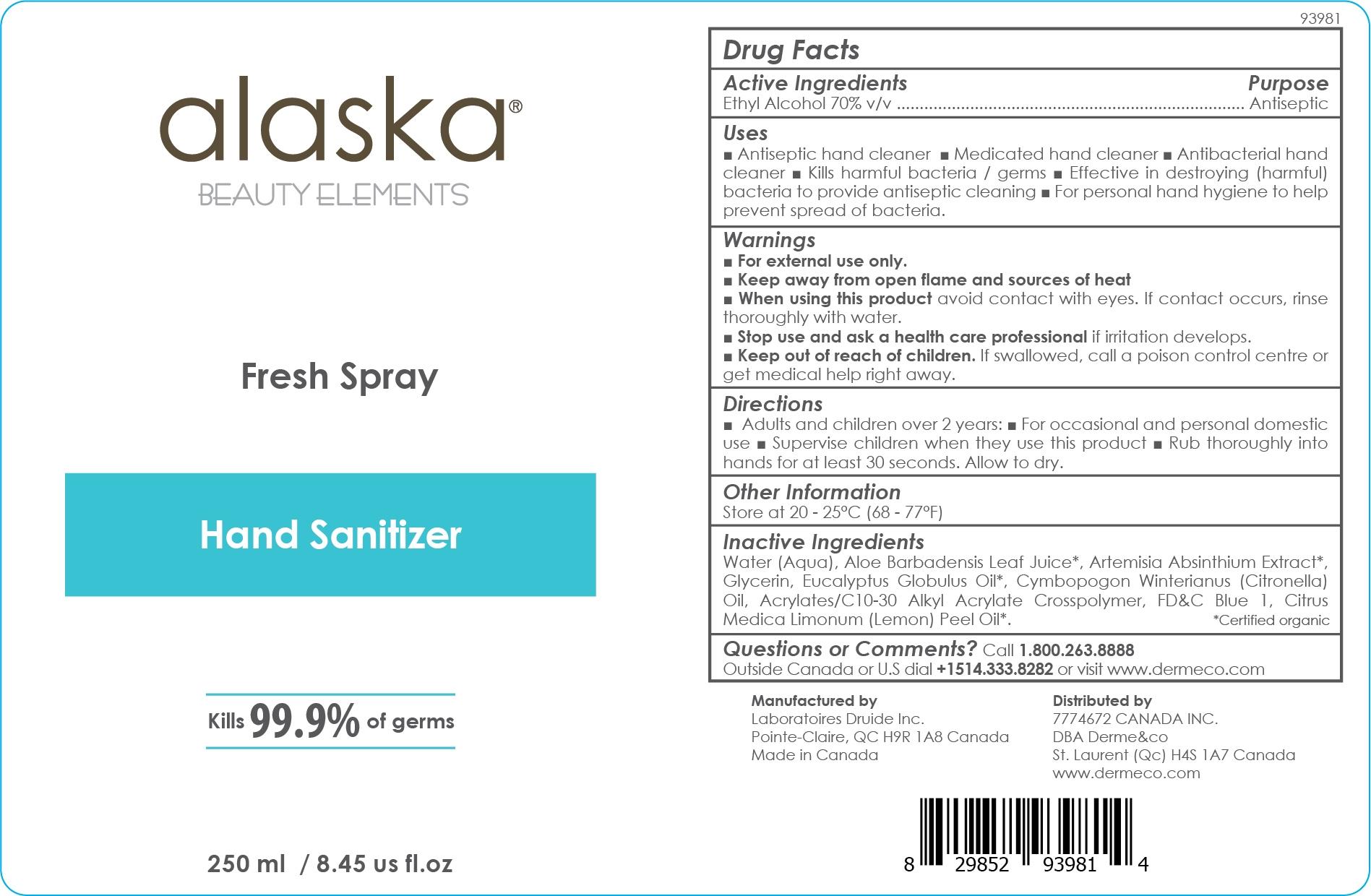 Alaska Beauty Elements Fresh Spray Hand Sanitizer 250 mL