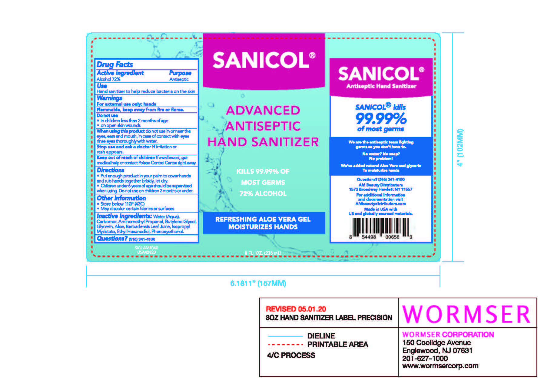 Package Label-Sanicol 8OZ
