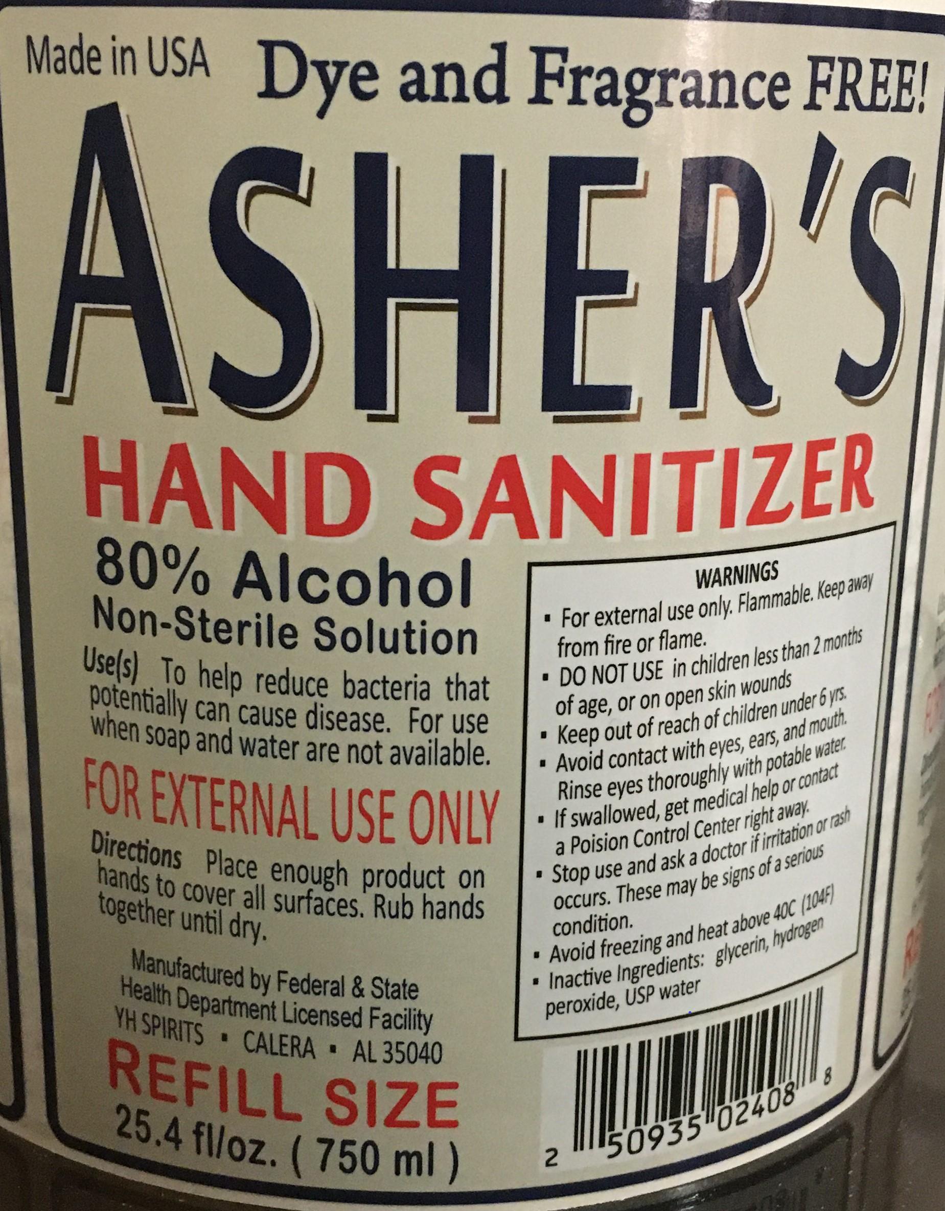 Asher's Bottle Label