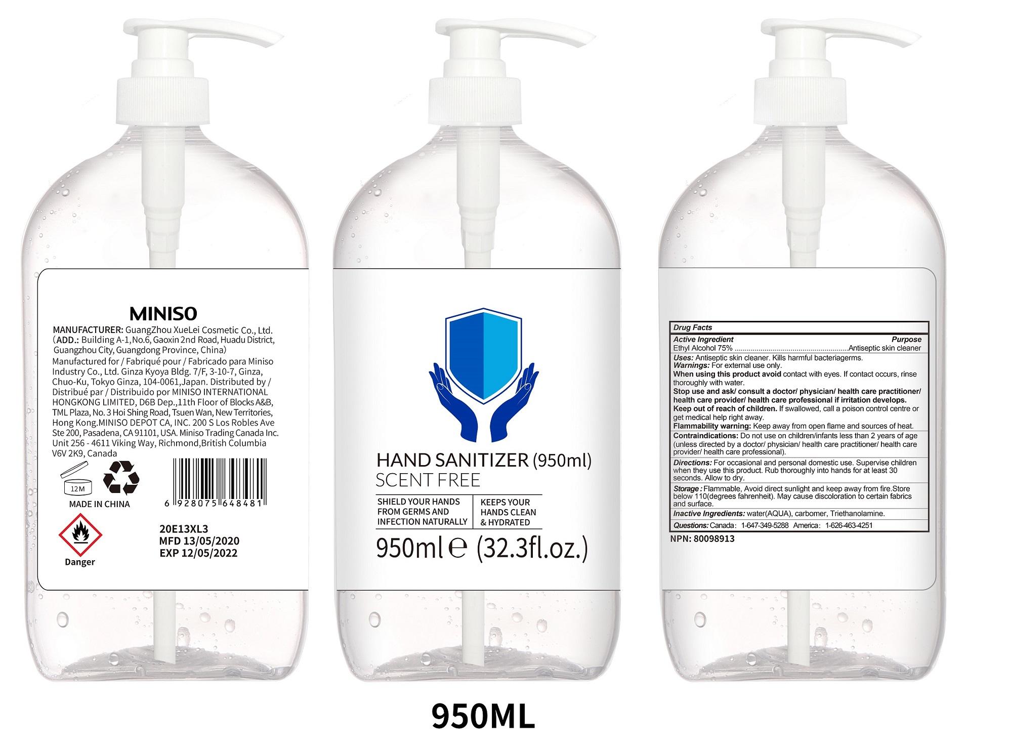 950ml label