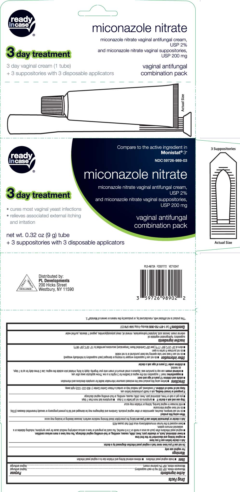 Miconazole nitrate, USP 200 mg (in each suppository Miconazole nitrate, USP 2% (external cream)