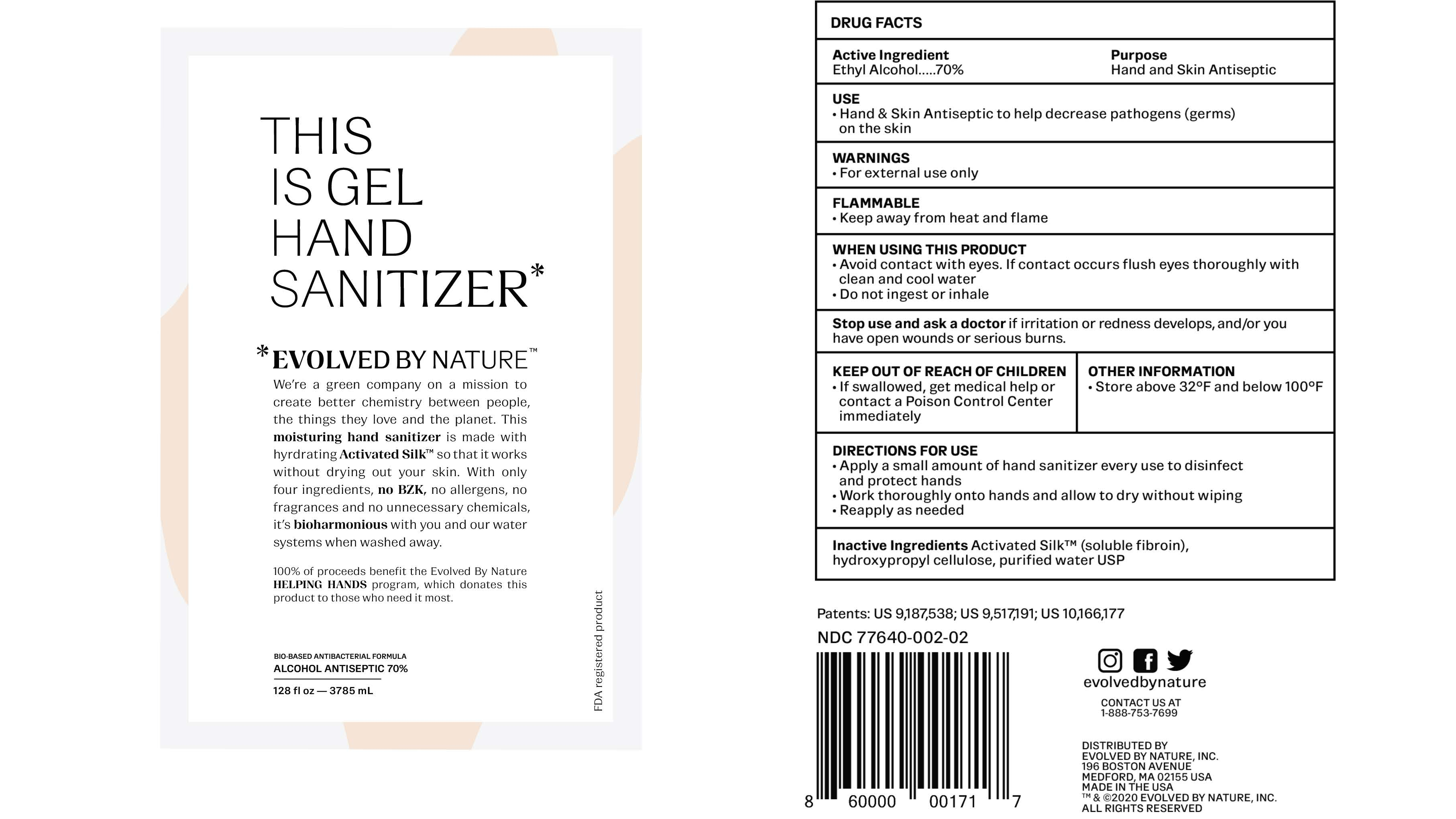 EBN Gel hand sanitizer 1 Gallon Label